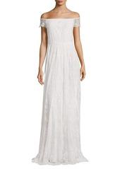 Alice + Olivia Aurelia Off-The-Shoulder Embellished Gown