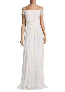 Alice + Olivia Aurelia Off-The-Shoulder Embellished Gown
