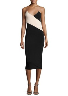 Alice + Olivia Aurora Colorblock Fitted Midi Dress w/ Cutouts