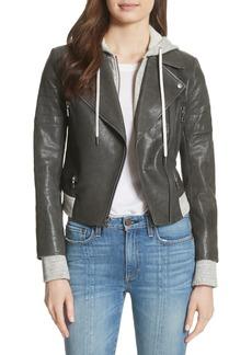 Alice + Olivia Avril Hooded Combo Leather Jacket