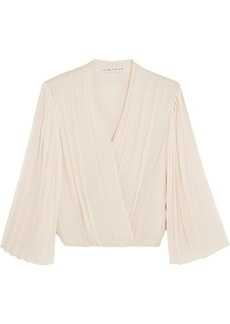 Alice + Olivia Axel wrap-effect pleated silk-georgette blouse