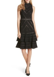 Alice + Olivia Azita Mesh Tiered Fit & Flare Dress