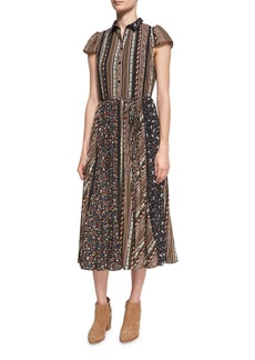 Alice + Olivia Bale Lace Insert Pleated Midi Dress