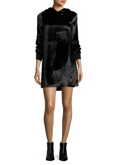 Alice + Olivia Baron A-Line Hooded Velvet Dress