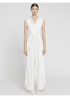 alice + olivia BEBE PLEATED SHAWL COLLAR JUMPSUIT
