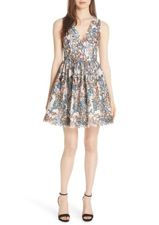 Alice + Olivia Becca Embroidered Fit & Flare Dress