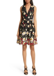 Alice + Olivia Becca Embroidered Pouf Dress