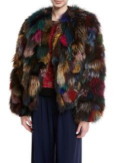 Alice + Olivia Becky Multicolor Reversible Fur Bomber Jacket