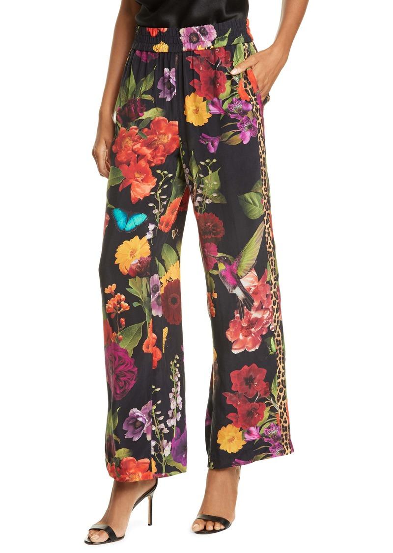 Alice + Olivia Benny Floral Smock Waist Pants