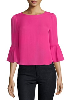 Alice + Olivia Bernice 3/4 Ruffle-Sleeve Back-Zip Top