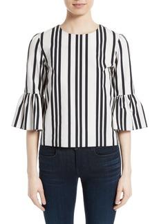 Alice + Olivia Bernice Stripe Cotton Ruffle Sleeve Top