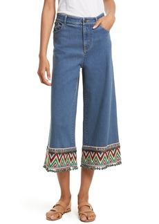Alice + Olivia Beta Embellished Wide Leg Crop Jeans