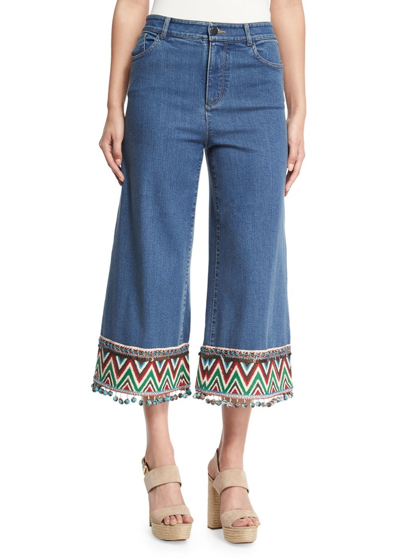 Alice + Olivia Beta Embroidered Pom-Pom Hem Cropped Jeans