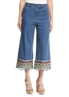 Beta Embroidered Pom-Pom Hem Cropped Jeans