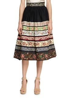 Alice + Olivia Birdie Embroidered Full Midi Skirt