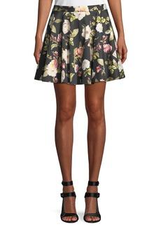 Alice + Olivia Blaise Floral-Print Trapeze Mini Skirt