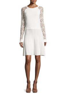 Alice + Olivia Blake Lace Raglan-Sleeve Dress