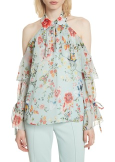 Alice + Olivia Blayne Cold Shoulder Floral Silk Blouse
