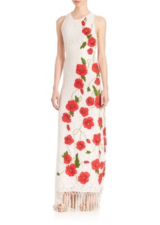Alice + Olivia Bonny Floral Embroidered Gown