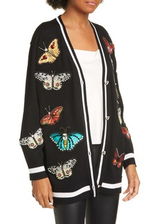 Alice + Olivia Bradford Embellished Butterfly Wool Blend Grandpa Cardigan