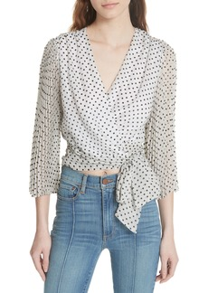 Alice + Olivia Bray Dot Pleated Sleeve Wrap Top