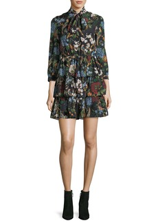 Alice + Olivia Breann Tiered Tie-Neck Floral-Print Dress