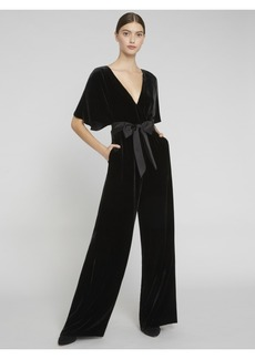 alice + olivia BREANNA VELVET WRAP TOP JUMPSUIT