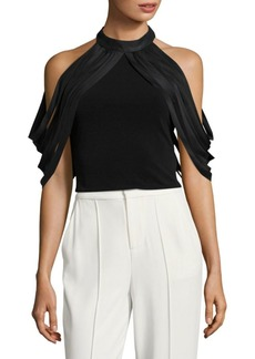 Alice + Olivia Bree Draped Cold-Shoulder Cropped Top