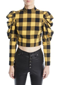 Alice + Olivia Brenna Check Puff-Sleeve Top