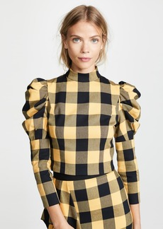 alice + olivia Brenna Puff Sleeve Top