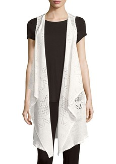 Alice + Olivia Brennen Solid Linen-Blend Waterfall-Front Jacket