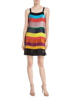 Alice + Olivia Bridget Striped Sequin Slip Dress