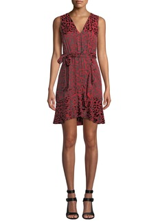 Alice + Olivia Brooks Short Leopard-Print Fit-Flare Dress