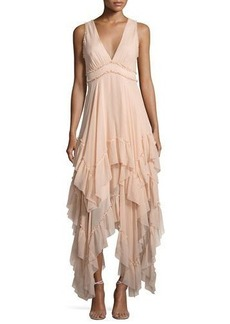 Alice + Olivia Brynn Sleeveless Silk Tiered Midi Dress