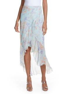 Alice + Olivia Caily Ruffle Detail Wrap Front Skirt