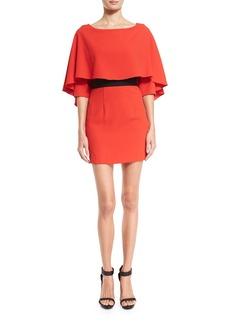 Alice + Olivia Cairo 3/4-Sleeve Cape Popover Dress