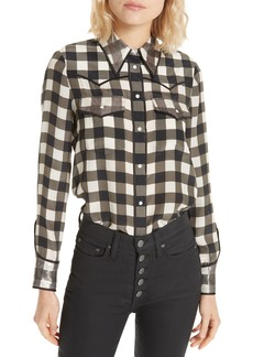 Alice + Olivia Caleb Western Plaid Silk Shirt