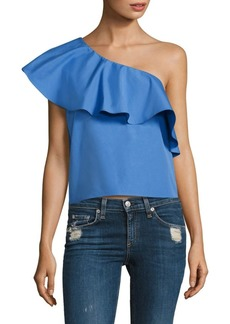 Alice + Olivia Calla Ruffled Cotton Top