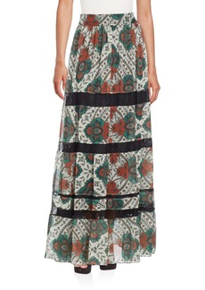 Alice + Olivia Calypso Lace-Inset Maxi Skirt