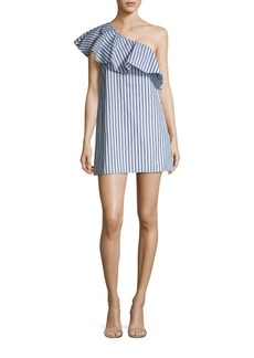 Alice + Olivia Cammie Ruffled Striped One Shoulder Dress