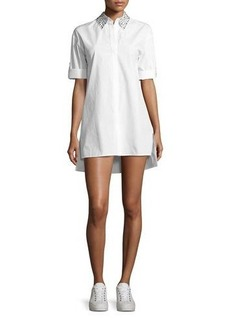 Alice + Olivia Camron Embellished-Collar Tunic Shirtdress