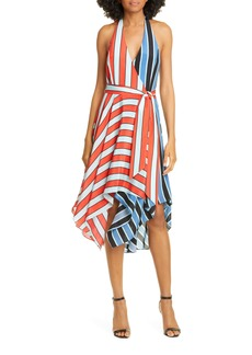 Alice + Olivia Canton Mix Stripe Halter Neck Handkerchief Hem Silk Dress