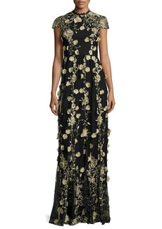 Alice + Olivia Cap-Sleeve Floral Embroidered Gown