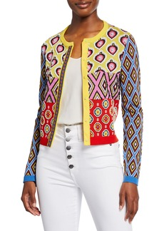 Alice + Olivia Carla Kranendonk X Alice + Olivia Ruthy Embellished Mixed-Print Button-Front Cardigan