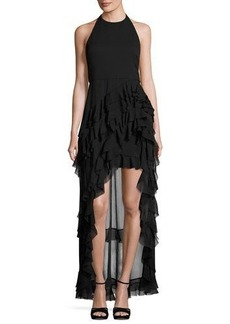 Alice + Olivia Carma Tiered High-Low Halter Gown