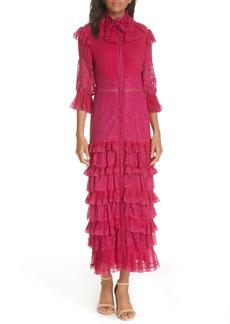 Alice + Olivia Carmina Pleat Tiered Midi Dress