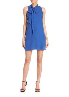 Alice + Olivia Cassidy Silk Tie-Neck Shift Dress