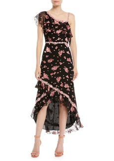 Alice + Olivia Caydon One-Shoulder Floral Burnout Flounce Midi Dress