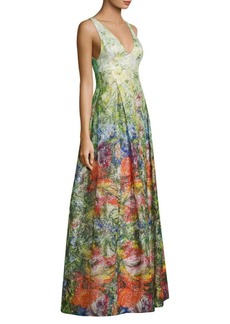 Alice + Olivia Chantal Silk Blended Flare Gown