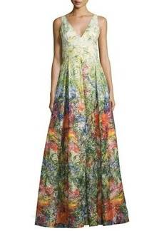 Alice + Olivia Chantal Sleeveless Pleated Floral Jacquard Gown